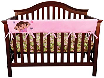 Trend Lab Fleece Nickelodeon CribWrap Wide Rail Cover for Crib Front or Back, Dora the Explorer Exploring...